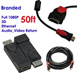 Ray-Up -(50 Feet)DisplayPort® to HDMI® Video Adapter Converter - M/F + Ultra High-Speed HDMI Cable w/Ferrite cores - Supports Ethernet, 3D, and Audio Return [Newest Standard]