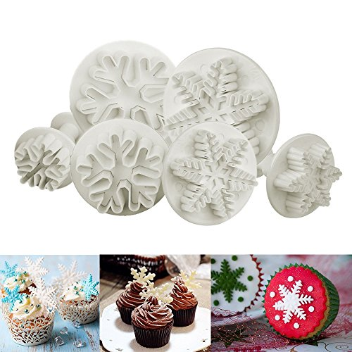 ilauke 6PCS Snowflake Cookie Cutters Decorating Fondant Embossing Tool Snowflake Plunger Cake Cutter (Cake Christmas Marzipan Non)