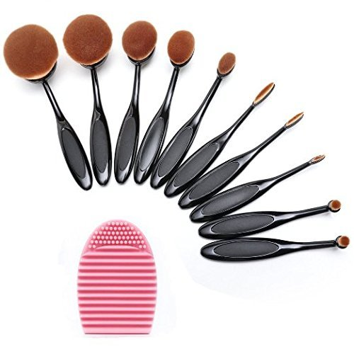 Set Face Powder (BeautyKate Set of 10 pcs Makeup Brush Oval Toothbrush Foundation Powder Blush Soft Face Brush Set + Silicone Makeup Brush)