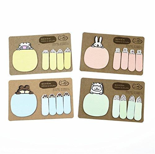 SINDBIN Cartoon Kawaii Animals Self-Stick Memo Sticky Notes Pads,Kraft Paper Sticky Note (Pack of 4) (Paper Notes Sticky Kraft)