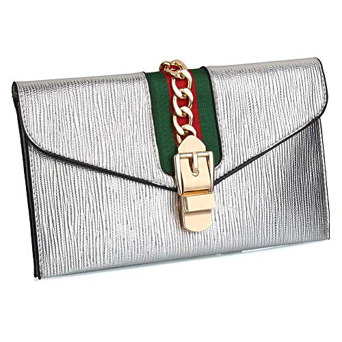 Ladies Crossbody Women Bag Envelope Designer Purse Strap Adjustable Clutch for with Silver Wallet Evening Purse White Clutch wwOHtq6A