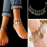 Fashion Bohemian Moon Lovers Tassel Coin Antique Gold/Silver Anklet Chain Bracelet Beach Jewelry