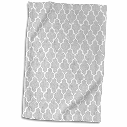 3dRose 3D Rose Light Gray Quatrefoil Pattern-Grey Moroccan Tile Style-Modern Silver Geometric Clover Lattice Hand/Sports Towel, 15 x 22, (Gray Quatrefoil Clover)