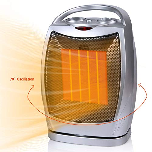 Oscillating Space Heater Indoor Portable Electric for Office, Ceramic Heater Fan with Thermostat Overheat and Tip-Over Protection, 1500W/750W