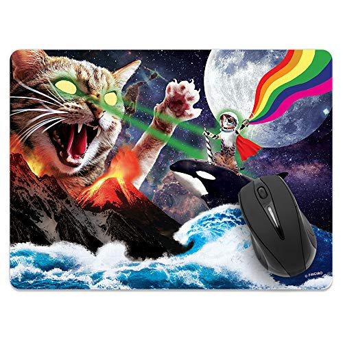 Extra Large (X-Large) Size Non-Slip Rectangle Mousepad, FINCIBO Whale Astronaut Cat Mouse Pad for Home, Office and Gaming Desk (Best Mousepad For Laser Mouse)