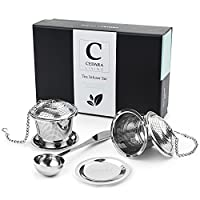 Loose Leaf Tea Infuser Set - Includes 2 Loose Tea Steepers/Stainless Steel Tea Strainer - Suits Single Cup Mug Or Teapot - Gift-box, Tea Scoop and Drip Trays Included