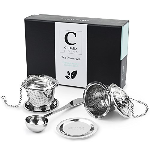 Loose Leaf Tea Infuser - Includes Set Of 2 Tea Steepers/Stainless Steel Tea Strainer - Suits Single Cup Mug Or Teapot - Gift-box, Tea Scoop and Drip Trays Included