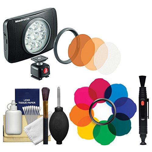 Manfrotto Lumimuse 8 On-Camera LED Video Light with Multicolor Filter Kit + Cleaning Kit by Manfrotto