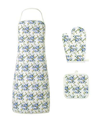 Mitt Flower (Kitchen Cooking Apron Cotton and Linen Barbeque Flower Color Bib Apron for WomenHeat Resistant Fine Protection Comfort Oven Mitt Gloves Pot Bowl Holder Mat3pcs Set)