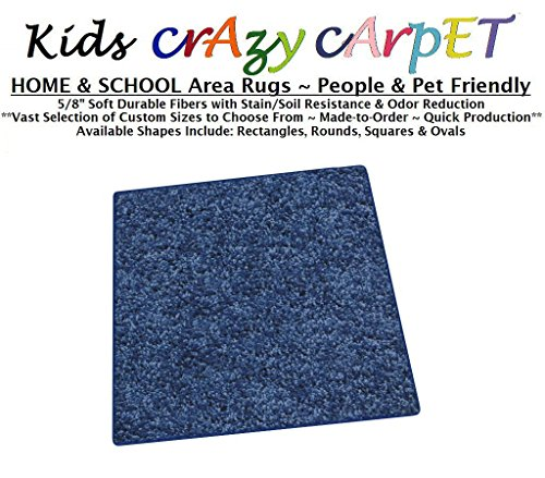 (Square 12'x12' - Super Hero Blue ~ Kids Crazy Carpet Home & School Area Rugs | People & Pet Friendly - R2X Stain Resistance & Odor Reduction)