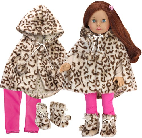 Sophia's Doll Clothes 3 Pc.Set Includes Doll Coat Animal Print Fur Cape, Matching Doll Boots & Hot Pink Leggings for Dolls in The Winter and 18 Inch Girl Dolls Such as American Dolls & More!