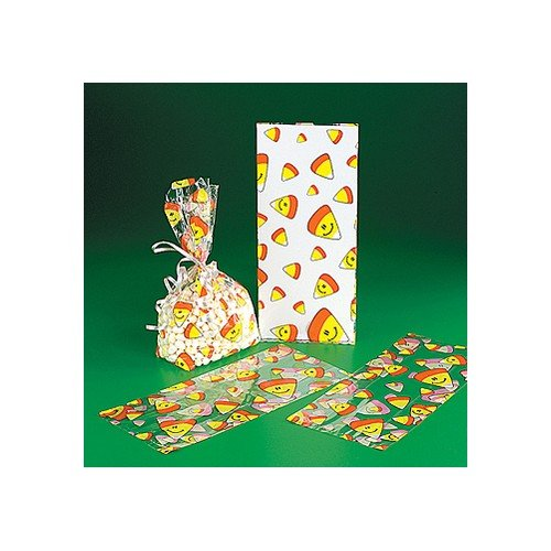 Smile Face Candy Corn Halloween Bags - Party Favor & Goody Bags & Cellophane Treat Bags -