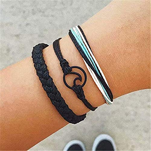 Heyuni.Wave Strand Bracelet Set 3 Pcs Summer Surfer Wave Bracelet Adjustable Friendship Bracelet Handcrafted - Handcrafted Strand Three