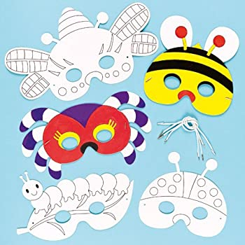 Bug Insect Creepy Crawlies color in Craft Masks for Children to Decorate & Wear Fancy Dress (Pack of 6)
