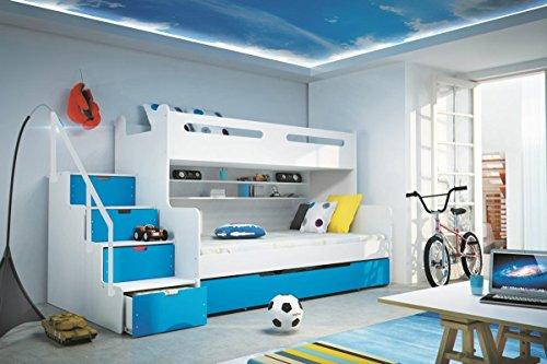 Etagenbett Max 3 weiß/blau 200x80cm und 200x120cm + Matratze inkl.