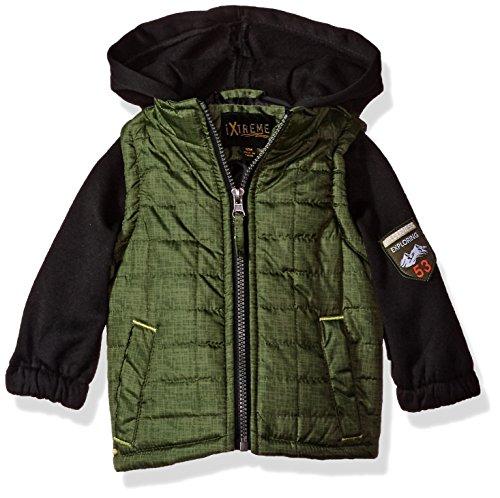 iXtreme Baby Boys Infant Tonal Print Vest W/Fleece Hood &Sleeve, Olive, 12M