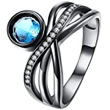 XAHH Women Black Gold Blue Aquamarine Round CZ Criss Cross Crown Ring Promise Engagement Wedding Band for Her