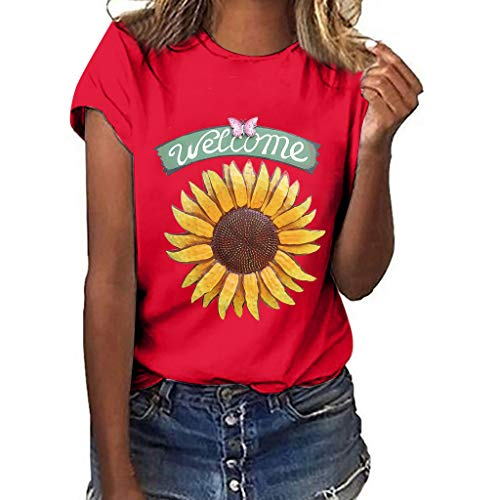 DondPO Sunflower T-Shirt Women Cute Funny Graphic Tee Teen Girls Casual Short Sleeve Tunic Shirt Tops Blouse Red