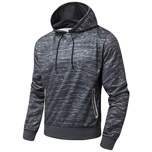 ANJUNIE Althletic Hooded Pullover Men Casual Hoodie Zipper Printing Long Sleeves Sweatshirt with Pocket(Gray,M)