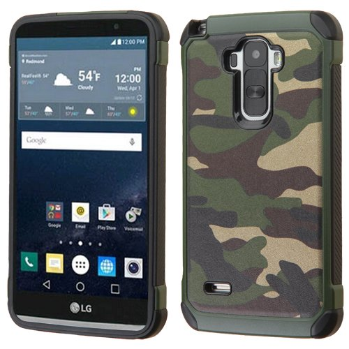 Price comparison product image Asmyna Phone Case for LG LS770 (G Stylo) - Retail Packaging - Black/Green