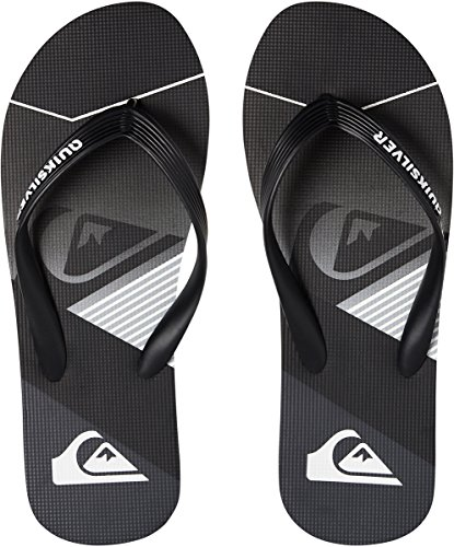Black Quiksilver Slash 9 Black Grey Flip Flops UK Logo Molokai Fade g7BYR