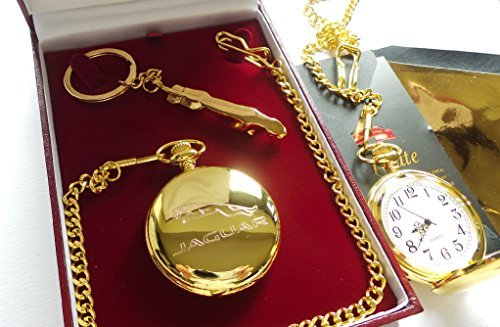 The British Gold Company 24K Gold Jaguar Keyring Pocket Watch Limited Edition Set In Luxury Luxurious Car Accessoriies by The British Gold Company