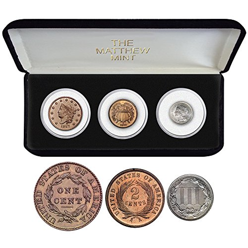 Collectible Three Coin Cent Set - Large Cent, 2-Cent Piece, And 3-Cent Piece