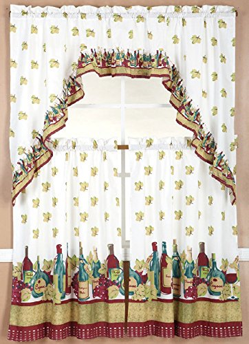 Wine Kitchen Window Curtain Treatment Tiers And Swag 36'' Long Country Style 3Pc Set by Modern Curtain (Image #1)
