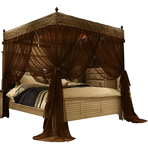 Nattey Luxury 4 Post Bed Curtain Canopy Mosquito Netting Queen Size (Queen, Coffee)
