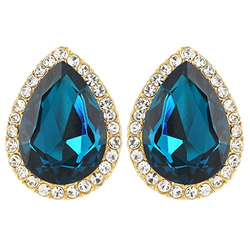 EVER FAITH Women's Austrian Crystal Wedding Teardrop Stud Earrings Turquoise Color Gold-Tone