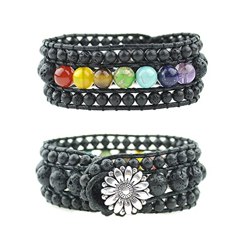 IUNIQUEEN Unisex 7 Chakra Healing Rainbow Real Stone Bead Energy 3 Row Wide Wrap Bracelet Collection