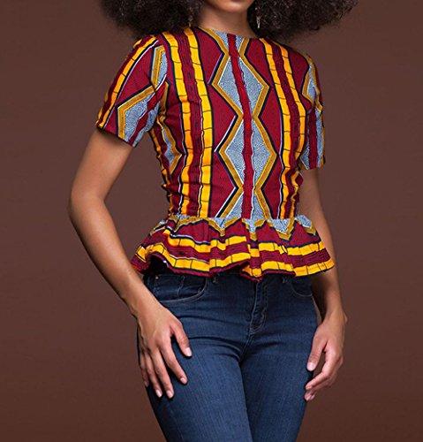 Vin t Manches Femmes Casual Lotus Chemisiers Rouge de Ethnique Courtes Imprime Feuille C T Hauts Shirt Tops OUFour t Blouse Tee H5qdfH
