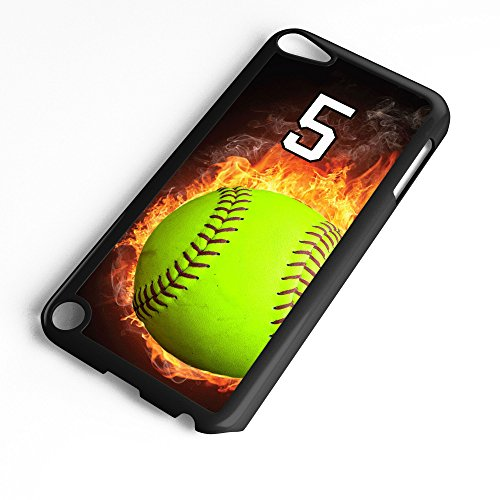 iPod Touch Case Fits 6th Generation or 5th Generation Softball #0700 Choose Any Player Jersey Number 5 in Black Plastic Customizable by TYD Designs
