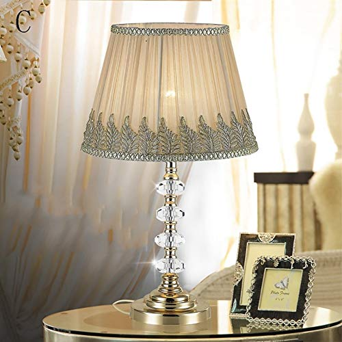 Xiao Yu Bedside Lamp - Energy Saving Table Lamp Simple Fabric Crystal Table Lamp Dimmable Bedroom Bedside Lamp (Color : ()
