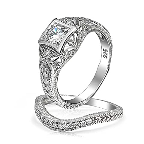 Bling Jewelry Antique Style 925 Silver Round CZ Vintage Style Waved Anniversary Wedding Ring Set (Antique Ring Band)