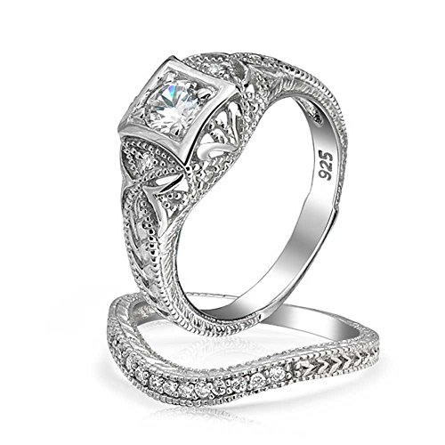 Antique Style 925 Silver Round CZ Vintage Style Waved Anniversary Wedding Ring (Antique Style Wedding Set Ring)