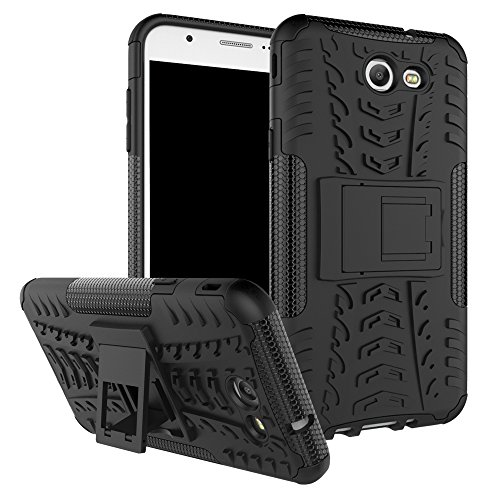 Galaxy J7 V Case, Galaxy J7 Prime, Galaxy Halo, Galaxy J7 Perx, Galaxy J7 Sky Pro, Galaxy J7 2017, KMISS Hybrid Heavy Duty Armor Protection Cover [Anti Slip] [Built-In Kickstand] Skin Case (Black)