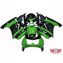 VITCIK (Fairing Kits Fit for Kawasaki EX250R Ninja 250 EX-250R ZX250 2008 2009 2010 2011 2012) Plastic ABS Injection Mold Complete Motorcycle Body Aftermarket Bodywork Frame (Green & Black) A006