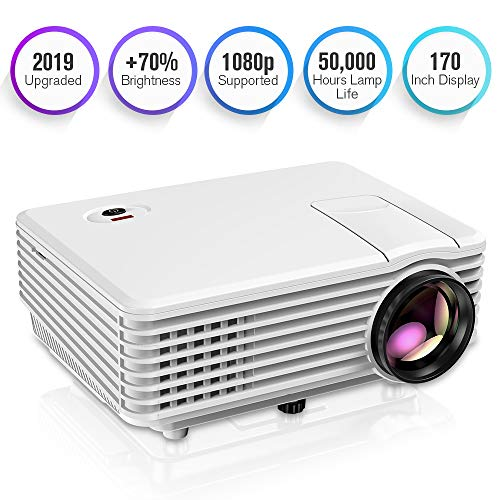 """TENKER Projector, Mini Projector Portable 170"""" Display, 1080P Supported Video Projector, 50000 Hours LED Movie Projector Compatible with HDMI, USB, AV, VGA, Phone and Laptop"""