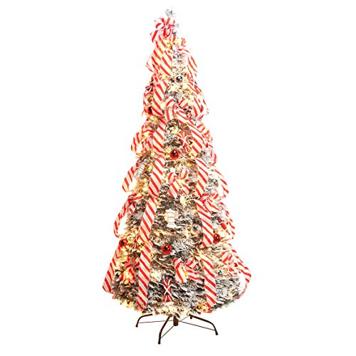6' Snow Frosted Candy Cane Pull-Up Tree by NorthwoodsTM (Up Tree Lit Pull Pre)
