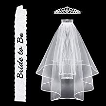 Bachelorette Party Bride To Be Sash Lace & Rhinestone Tiara Crown & Bridal Veil Girls Night Out Game … (Lace)