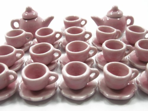 Dollhouse Miniature Ceramic 16/34 Pink Teapot Cup Plate Scallop Saucer #S 1716