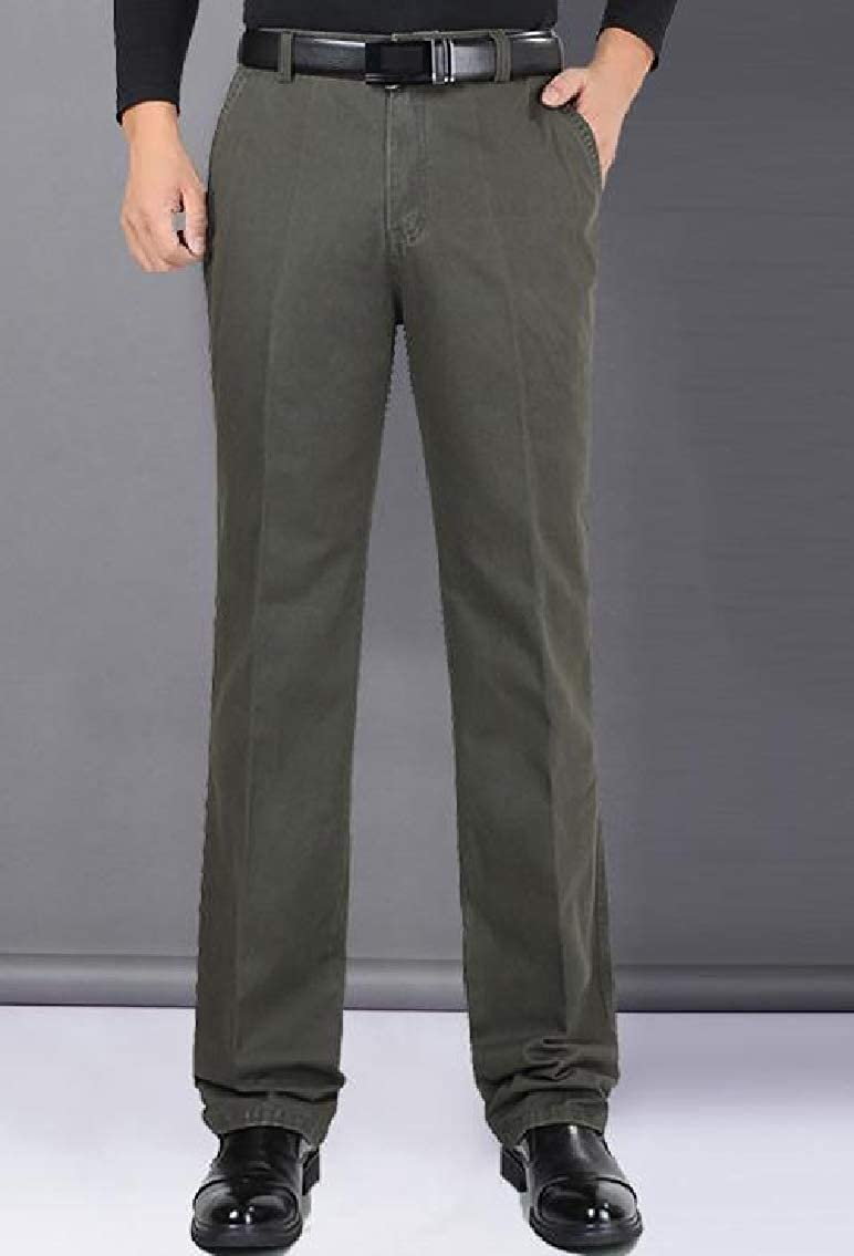 Godeyes Mens High Rise High Waist Autumn Winter Straight Fitted Casual Trousers