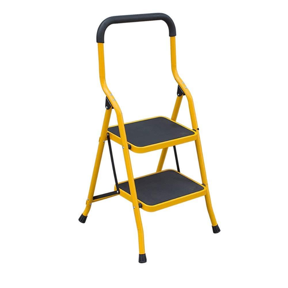 NEVY- 折りたたみ梯子 - ポータブルフットスツールステップ梯子収納ラックフラワースタンド - 大人と子供 (色 : 黄, サイズ さいず : 2 tiers) B07RBXMNP6 黄 2 tiers