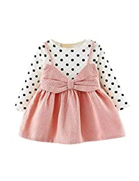 Baby Girl Dress Clothes Long Sleeve Newborn Infant Dot Bowknot Princess Outfits