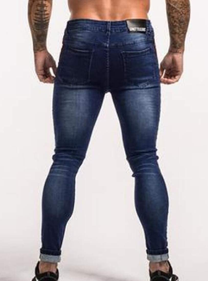 ARTFFEL Mens Contrast Color Motorcycle Stretchy Biker Stylish Jeans Pants
