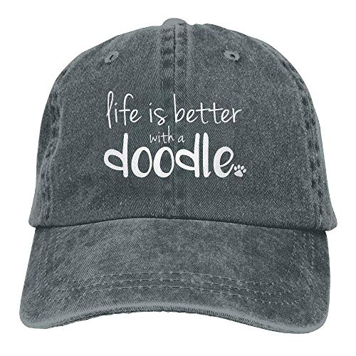 DFNRF 2018 Adult Fashion Soft Cotton Denim Baseball Cap Life is Better with A Doodle-1 Classic Dad Hat Adjustable Plain Cap Adjustable ()