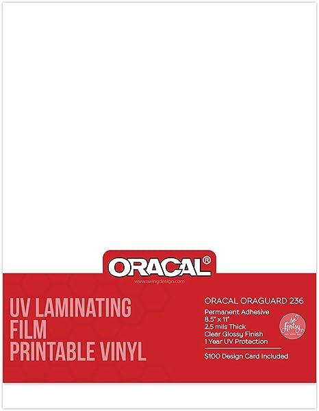 Oracal - Lámina de laminado UV para vinilo imprimible de 8.5 x 11 pulgadas con tarjeta de diseñador So Fontsy, 5 ...