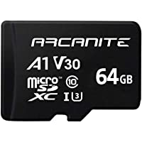 ARCANITE - Tarjeta de memoria microSDXC de 64 GB con adaptador SD, UHS-I U3, A1, V30, 4K, Clase 10, Micro SD, Velocidad de lectura de hasta 90 MB/s.