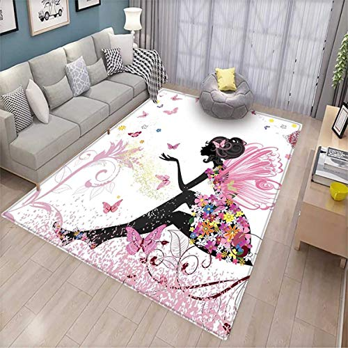 Girls Bath Mats for Floors Fairy Girl with Wings in a Floral Dress Magical Fantasy Garden Flying Butterflies Door Mat Indoors Bathroom Mats Non Slip Multicolor]()